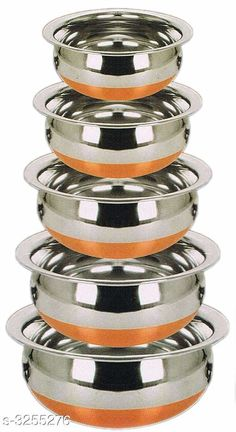 Pans COPPER BOTTOM HANDI SET OF 5 PIECE  Material: Stainless Steel  Capacity: 0 - 400 ML  1 - 600 ML  2 - 900 ML  3 - 1200 ML  4 - 1600 ML. Description: It Has 5 Pieces Of  Handi Country of Origin: India Sizes Available: Free Size *Proof of Safe Delivery! Click to know on Safety Standards of Delivery Partners- https://ltl.sh/y_nZrAV3  Catalog Rating: ★4 (4991)  Catalog Name: Dream Home Wonderful Kitchen Cookwares Vol 19 CatalogID_449220 C137-SC1595 Code: 725-3255276-