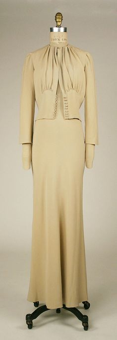 Mainbocher Wedding Dress and - Made for Wallis Simpson - A defect in the stability of the dye has caused the dress to lose its 'Wallis Blue' color.