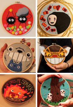 Studio Ghibli embroidery hoops.