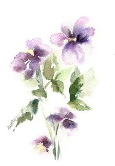 Flowers, watercolor painting