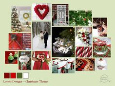 A Lovely Designs Christmas wedding mood board in Dark and bright red, green and snowy white  www.lovelydesigns.co.uk