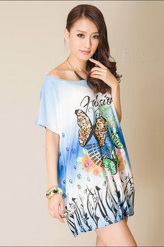 Nice Round-Neck Short Sleeve Butterfly Short Day Dress , Short