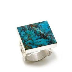 Jay King Turquoise Square Stud Sterling Silver Ring