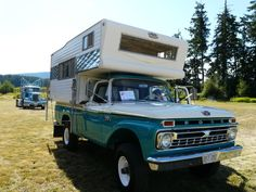 '66 Ford truck with a '67 Galaxies cab over camper... Nice!