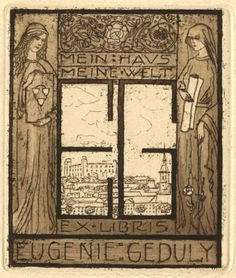 Bookplate by Emil Orlik for Geduly Eugénia számára, Pozsony látképével, 1904