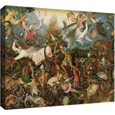 ArtWall Pieter Bruegel The Fall Of The Rebel Angels Gallery-Wrapped Canvas, Size: 24 x 32, White
