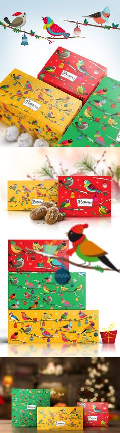 Our Xmas packaging for Bonora Chocolates host - once again! -  our beloved, colorful little birds, wearing their warm caps and scarfs, while sitting on the snowy braches of a Christmas tree, singing the carols! Xmas ball ornaments, multicolored bells, mistletoe, stick lollipops and pine cones fill in the picture of the most delicious and delightful chocolate desserts!