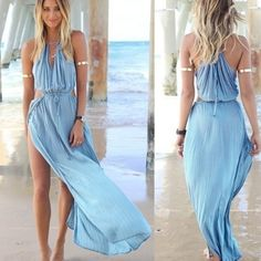 Maxi Dress Stunning Light Blue Maxi dress!! Side slit, and open sides this dress is Hot! Will look Gorgeous on vacation or at the beach this summer, definately a head turner!! Let me know what size you would like and I'll make a seperate listing for you. PRICE FIRM unless bundled Dresses Maxi