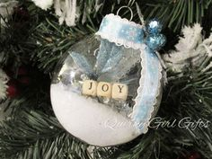Joy Winter Scene Snow Ornament with Snowflake by QuirkyGirlGifts
