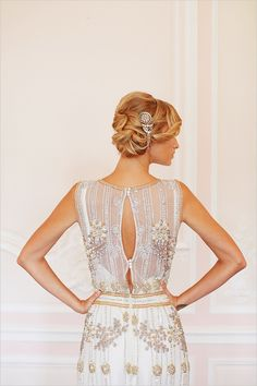 Wedding Dress and Hair: Beaded Wedding Gown.