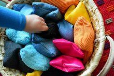 Montessori DIY Sensory Bean Bags: a great multi-age activity made from fabrics you already have at home Montessori Classroom, Montessori Toddler, Montessori Activities, Infant Activities, Activities For Kids, Maria Montessori, Classroom Ideas, Diy Sensory Board, Sensory Bags