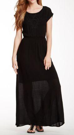 Bobeau Short Sleeve Embroidered Gauze Maxi Dress
