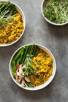 mung bean & quinoa bowls with spicy ginger tumeric broth #vegan