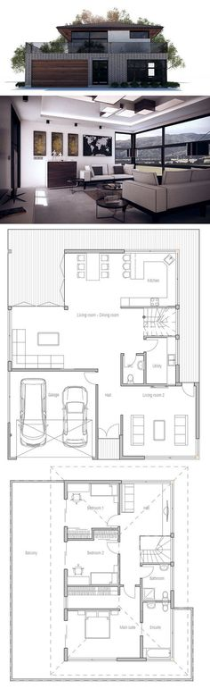 Move the laundry upstairs & I love it! Modern House Plan Architecture. Floor Plan from ConceptHome.com #smallmodernhomedesign