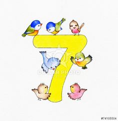 Number seven and 7 birds