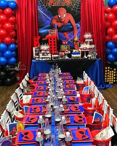 75 Blue and Red Party Themes Ideas - Spark Love Spiderman Theme Party, Spiderman Birthday Cake, Avengers Birthday, Superhero Birthday Party, 4th Birthday Parties, Birthday Party Decorations, 5th Birthday, Birthday Ideas, Red Party Themes