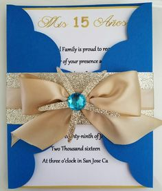 Blue and Gold Sweet 16 Invitation Glitter Starfish Bat Mitzvah