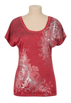 Maurices Premium Foil Scroll Burnwash Tee - maurices.com