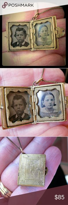 ANTIQUE  Mourning Locket Necklace ~ Tintypes Presenting an 1850 - 1880 photo mourning or sentiment locket necklace.  Two precious tintype photos of children are inside, set under glass with a decorative gold tone frame.  Gold tone book locket is decorated with period etchings on both front and back.  A decorative fold over clasp holds book locket securely closed.  Not sure of type of metal, will not remove tintypes to see if there are gold markings underneath. Gold tone chain with spring…