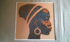 African woman portrait hama beads by Krea Musen