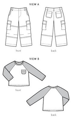Oliver + S Field Trip Cargo Pants and Raglan T-Shirt digital pattern--size 12; would need to modify for zipper fly