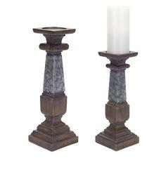 2 Piece Polyresin/Metal Candlestick Set