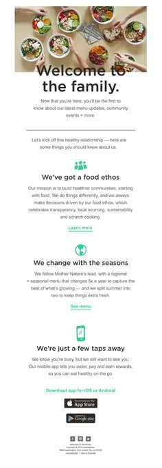 Sweetgreen sent this email with the subject line: hey, what's up farro ;) - Read about this email and find more welcome emails at ReallyGoodEmails.com #app #welcome