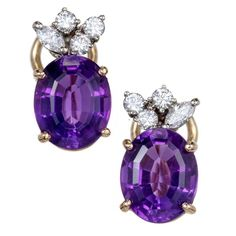 5.50 Carat Oval Amethyst Diamond Gold Earrings 1