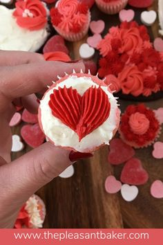 This valentines charcuterie board is adorable! Watch how I make these cute heart cupcakes, cookies, and cake! #heartcake #valentinesdaytreats #thepleasantbaker Heart Cupcakes, Mini Cupcakes, Cake Decorating For Beginners, Chocolate Sugar Cookies, Icing Colors, Box Cake Mix, Valentines Day Treats, Gorgeous Cakes, Frosting Recipes