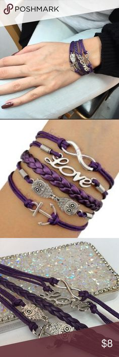 ‼️Love, Anchor, Owls, Infinity bracelet 5 layer purple  hand made leather antique silver plated love, anchor, owls, infinity charm bracelet.  ✅ Free $5 or less item in my closet with any purchase ✅ I love to receive offers. 15% off bundle of 2 or more. Higher discount considered for larger bundles ❌No trades. Thanks for looking  Jewelry Bracelets