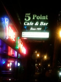 The iconic Seattle 5 Point Cafe, established 1929 - one of my favorite places in the 90's - you can see the Space Needle from the mens room.
