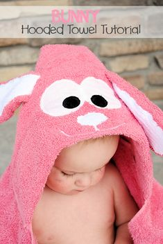 Bunny Hooded Towel Tutorial by CrazyLittleProjects.com #hooded towel #Easter #bunny