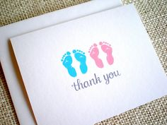 Boy Girl Twins Thank You Cards - Baby Shower Thank You Cards for Twins - Set of 10 Pink Blue Gray Footprints Thank You Notes with Envelopes Boy Girl Twins, Twin Girls, Twin Babies, Baby Shower Thank You Cards, Baby Cards, Thank You Notes, Happy Birthday Cards, New Baby Gifts, New Baby Products