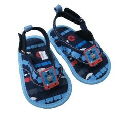 Infant Toddler Boy's Thomas the Tank Navy and Light Blue Canvas Thong Sandal AccessoWear. $8.99