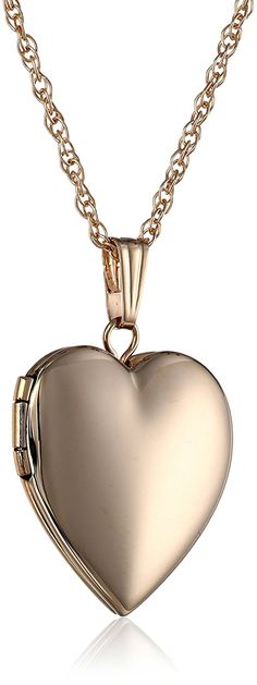 14k Gold Polished Heart Locket Necklace ** You can find more details by visiting the image link.
