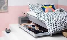 32 Creative Hidden Storage Ideas For Bedroom Spaces , The bedroom is just one of the most sacred rooms of your house and you need to treat it like one. Space-Saving Bedroom Sets Compact bedroom sets can f. Shoe Storage Solutions, Diy Shoe Storage, Diy Shoe Rack, Hidden Storage, Bed Storage, Bedroom Storage, Storage Ideas, Organization Ideas, Organizing Tips