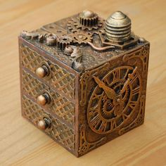 STEAMPUNK  WOODEN MINI DRAWERS JEWELLERY TRINKET BOX  UNIQUE HANDMADE COGS GEARS