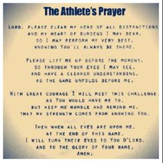 The #Athlete #Prayer. Every athlete should see this!