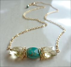 Laguna Necklace with Turquoise and Lemon Quartz by FlowDesigns, $38.00