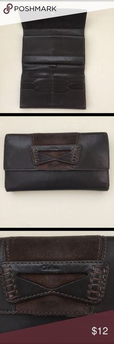 Cole Haan wallet Cole Haan woman's wallet in brown leather. Snap closure and zipper on the back for coins. Previously loved Cole Haan Accessories Gloves & Mittens