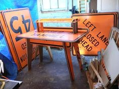 Heybales purchased these signs at The Rebuilding Center in Portland, Oregon. They Are marine grade plywood. This is his first creation . Recycled Furniture, Furniture Projects, Furniture Making, Diy Furniture, Wood Projects, Painted Furniture, License Plate Decor, License Plates, Upcycle Home