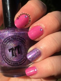 Purple Accent using My Name Is Daisy by Seventy Seven Nail Lacquer & Dope Jam by Enchanted Polish