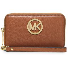 MICHAEL Michael Kors Fulton Large Flat Multifunction Phone Wallet ($105) ❤ liked on Polyvore featuring bags, wallets, luggage, brown wallet, zip around wallet, full grain leather wallet, logo bags and michael michael kors wallet