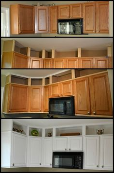 7 Excellent ideas: Cheap Kitchen Remodel Home Improvements mobile home kitchen remodel farmhouse style.Farmhouse Kitchen Remodel To Get farmhouse kitchen remodel posts.Old Kitchen Remodel Before After. Kitchen Redo, Updating Kitchen Cabinets, Kitchen Ideas, Kitchen Cabinets To Ceiling, Short Kitchen Cabinets, Cupboards, Kitchen Cabinet Paint, Upper Cabinets, Diy Storage Above Kitchen Cabinets