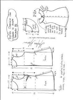 Esquema de modelagem de vestido chamesier com babado tamanho 36.
