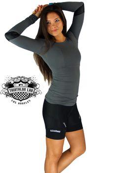 Triathlon lab gabriella round neck tunic top with gloss elbow patch