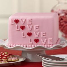 Sweetly express your love with a fondant-covered cake that?s perfect for Valentine?s Day or wedding shower. The Wilton Alphabet Cut-Outs Fondant Cutters make quick work of cutting out the letters. Wilton Cakes, Fondant Cakes, Cupcake Cakes, Creative Cake Decorating, Wilton Cake Decorating, Creative Cakes, Decorating Ideas, Decor Ideas, Cake Decorating Techniques