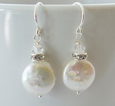 Pearl Dangle Earrings Bridal Jewelry by Jewels2Luv on Etsy