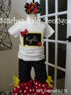 Custom Girls Back To School Chalkboard Ruffle Pants or Capris Outfit SET with M2M hairbow. $40.00, via Etsy.