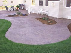 Patio Pavers Link cement patio with railing.Cement Patio With Railing concrete patio cleaner. Concrete Patios, Poured Concrete Patio, Concrete Patio Designs, Cement Patio, Stamped Concrete, Decorative Concrete, Curved Patio, Concrete Backyard, Concrete Pathway